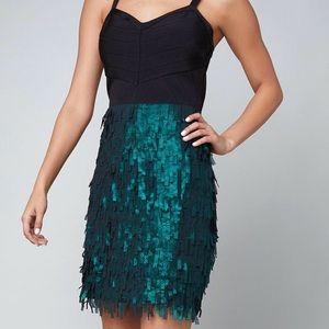 NWT Bebe Metallic Fringe Dress